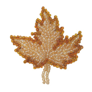 ID 9138 Fall Maple Tree Leaf Patch Autumn Dried Plant Beaded Iron On Applique