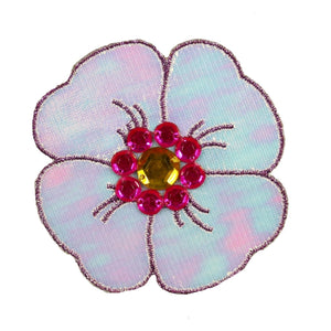 Hawaiian Hibiscus Flower Patch Bloom Shiny Jeweled Reflective Iron On Applique
