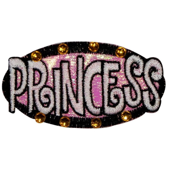 Princess With Jewels Patch Name tag Girls Embroidered Iron On Badge Applique
