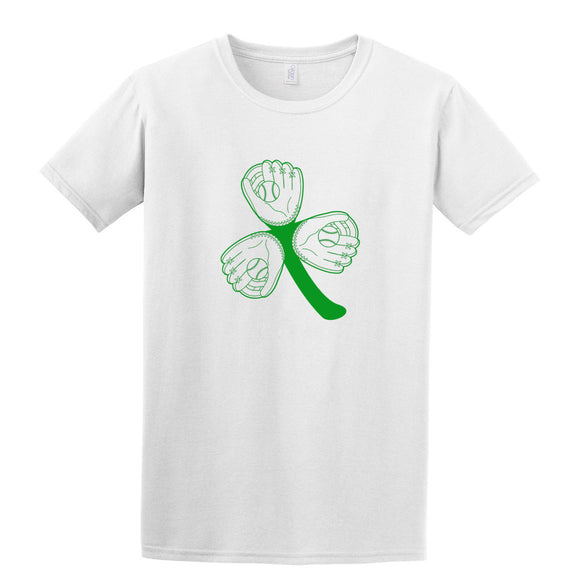 Baseball 3 Leaf Clover T-Shirt St. Patrick's Day Printed Direct to Garment