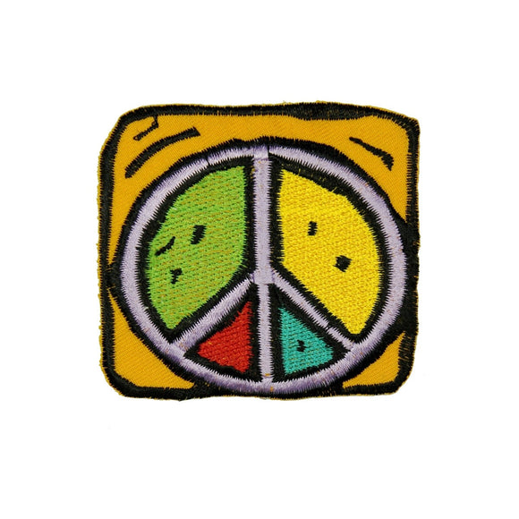 Yellow Framed Colorful Peace Sign Patch Hippie Cute Embroidered Iron On Applique