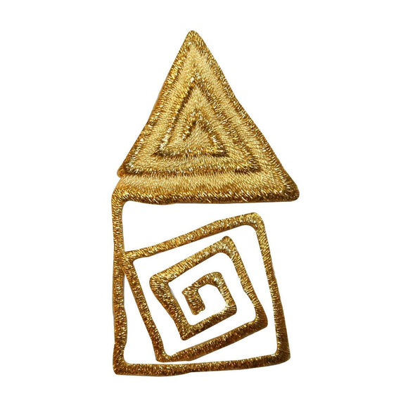 ID 9009 Golden Maze Triangle Patch House Symbol Emblem Design Iron On Applique