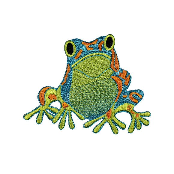 ID 0001 Colorful Frog Patch Sitting Blue Green Embroidered Iron On Applique