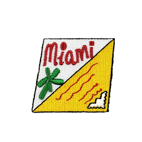 ID 7957 Miami Mail Stamp Patch Tropical Badge Card Embroidered Iron On Applique