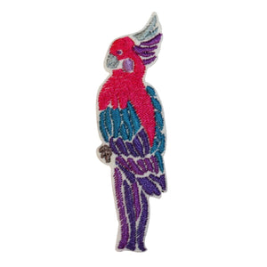 ID 0536B Cockatoo Parrot Patch Tropical Birds Embroidered Iron On Applique