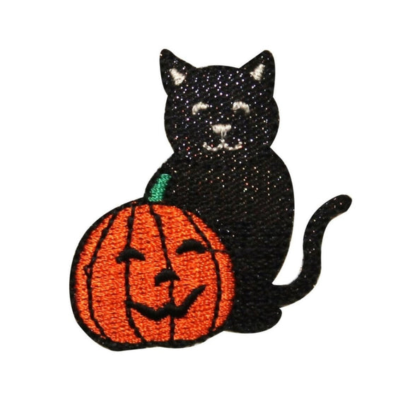 ID 0814 Happy Black Cat and Pumpkin Patch Halloween Embroidered Iron On Applique