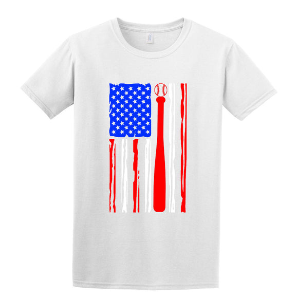 Baseball American Flag T-Shirt Patriotic Sport Printed Direct to Garment