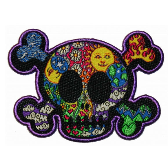 Dan Morris Elemental Skull Crossbones Patch Hippie Embroidered Iron On Applique
