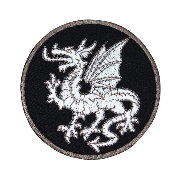 White Welsh Dragon Patch Fantasy Legend Badge Sign Embroidered Iron On Applique