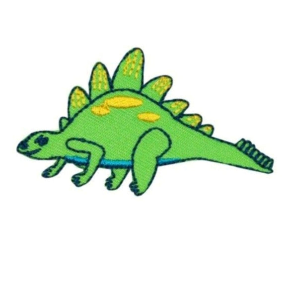 Tiny Green Stegosaurus Dinosaur Patch Cute Kids Craft Embroidered Iron On Applique