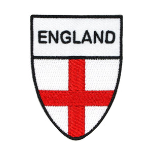 England National Flag Shield Patch St. George Cross Embroidered Iron On Applique