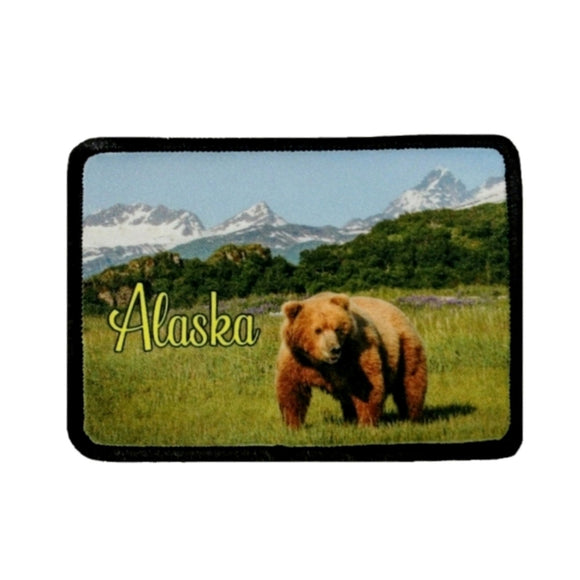 Alaska Kodiak Bear Patch Wildlife Animal Travel Dye Sublimation Iron On Applique