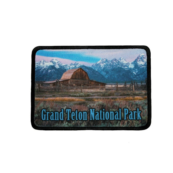 Grand Teton National Park Patch Barn Wyoming Dye Sublimation Iron On Applique