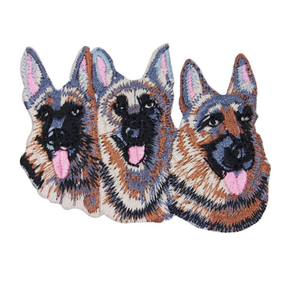 German Shepherd Dogs Patch Canine Faces K9 Police Embroidered Iron On Applique