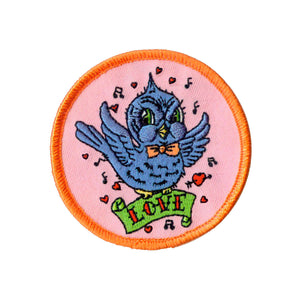 Bluebird Love Badge Patch Heart Kitsch Spring Craft Embroidered Iron On Applique