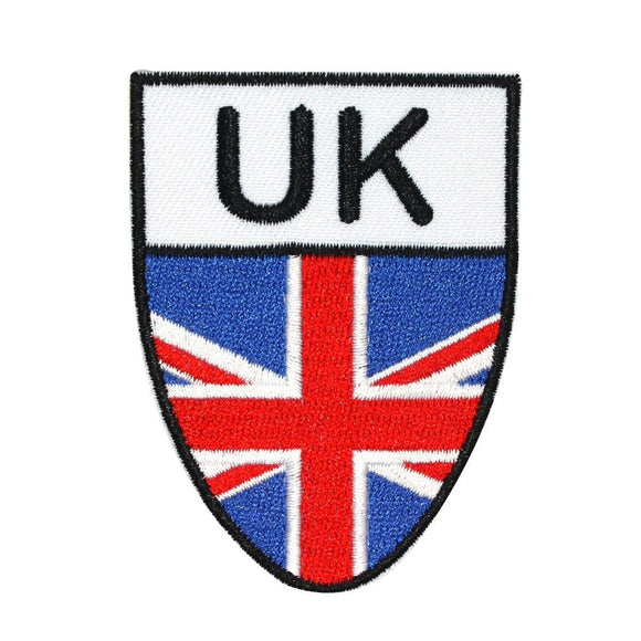 United Kingdom National Flag Shield Patch Badge UK Embroidered Iron On Applique