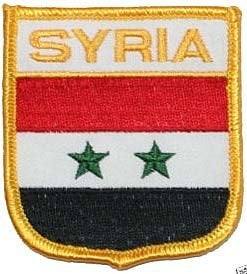 Country of Syria National Flag Patch Shield Embroidered Iron On Applique