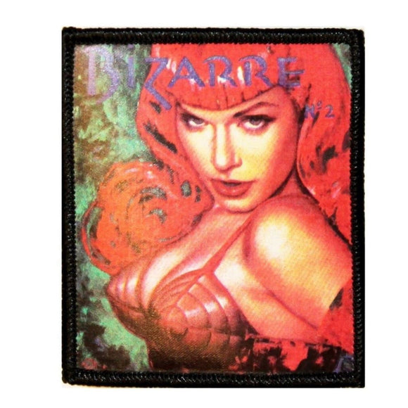 Olivia Bettie Page Lady Bizarre Bra Patch Sexy Red Silk Screen Iron On Applique