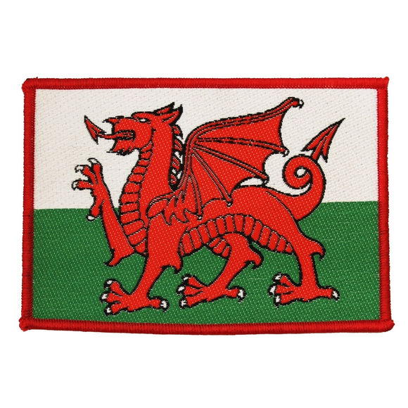 Wales Country Flag Patch Banner UK Badge National Dragon Woven Sew On Applique
