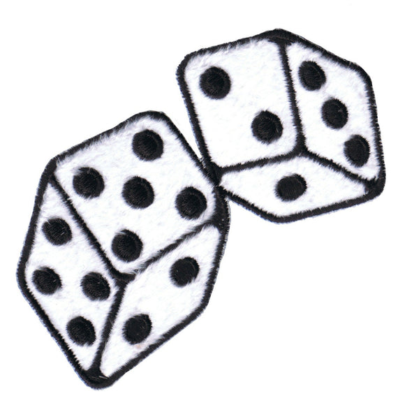 White Fuzzy Dice Patch Roll Plush Gamble Symbol Embroidered Iron On Applique