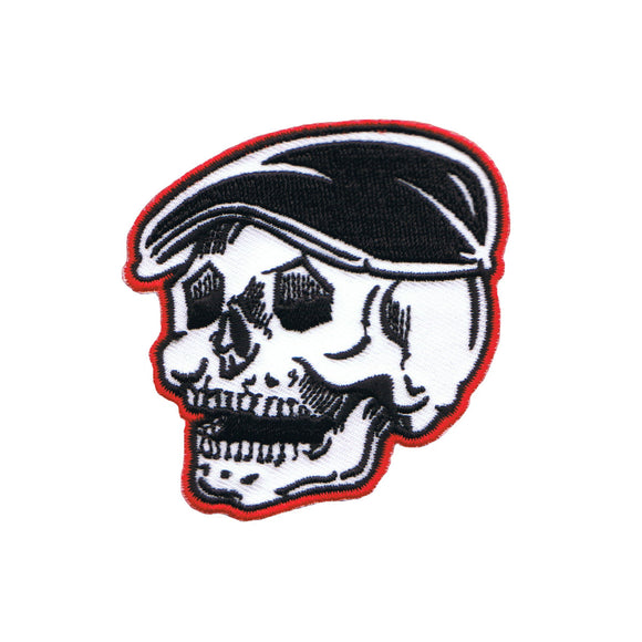 Artist Kruse Flat Cap Cabby Skull Patch Biker Head Embroidered Iron On Applique
