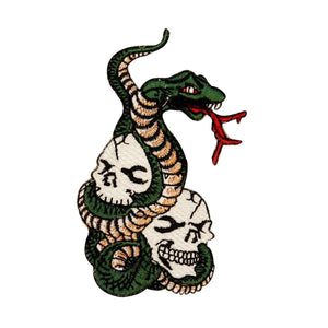 Two Skulls Snake Tattoo Patch Biker Pit Viper Bones Embroidered Iron On Applique