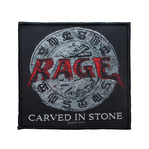 Rage Carved in Stone Patch Cover Art Heavy Metal Band Woven Sew On Applique