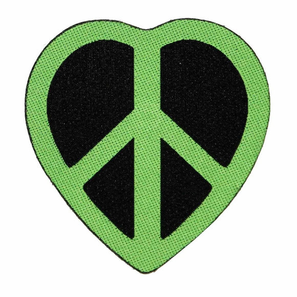Green Peace Sign Heart Patch Hippie Love Symbol Badge Woven Sew On Applique