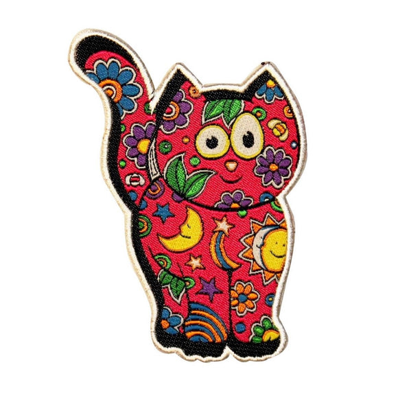Dan Morris Cosmic Cat Patch Friendly Hippie Kitty Artist Woven Iron On Applique