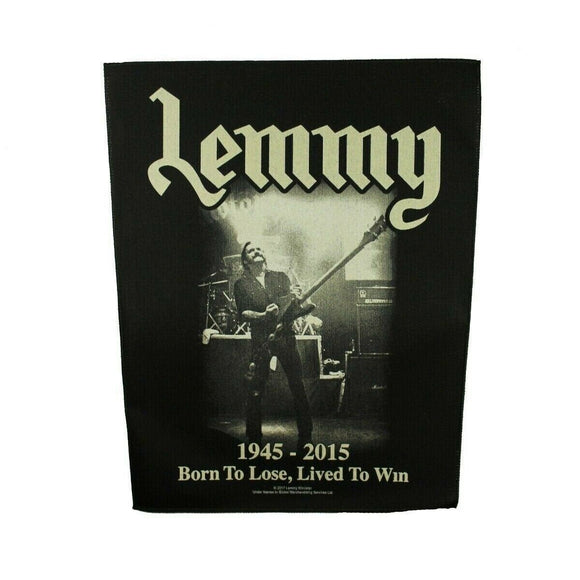 XLG Lemmy Lived To Win Back Patch Motorhead Lead Singer Metal Sew On Applique