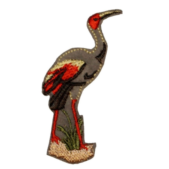ID 0017 Water Crane Patch Bird Fowl Lake Animal Embroidered Iron On Applique