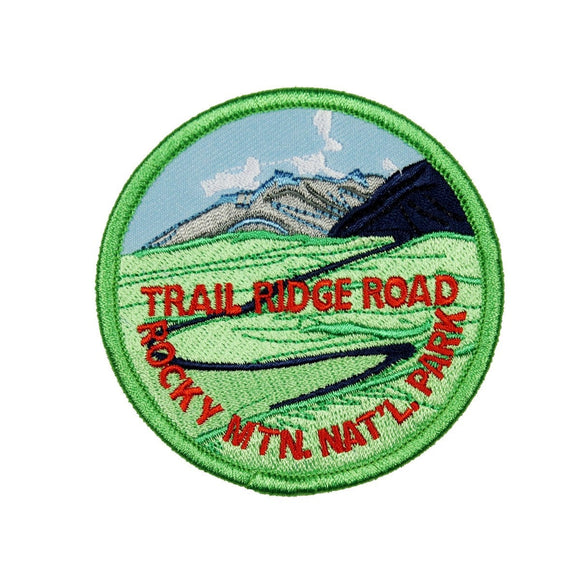 Trail Ridge Road Patch Rocky Mountain Travel Badge Embroidered Iron On Applique