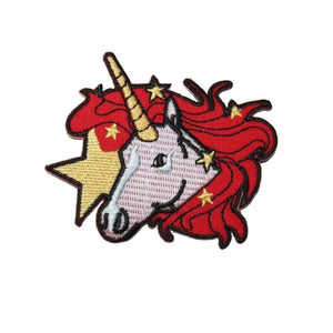 Red Mane Unicorn Star Patch Fantasy Pony Horse Embroidered Girls IronOn Applique