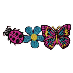 Hippie Lady Bug Flower Butterfly Patch Nature Craft Embroidered Iron On Applique
