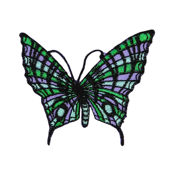 Green Purple Butterfly Patch Psychedelic Bug Hippie Embroidered Iron On Applique