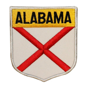State Flag Shield Alabama Badge Patch Travel USA Embroidered Iron On Applique