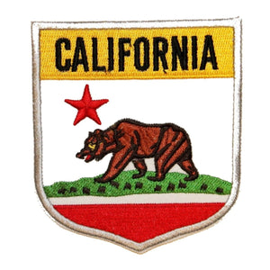State Flag Shield California Patch Badge Travel USA Embroidered Iron On Applique