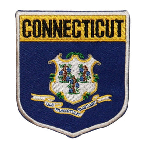 State Flag Shield Connecticut Patch Badge Travel Embroidered Iron On Applique