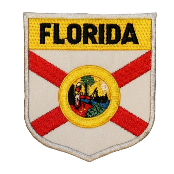 State Flag Shield Florida Patch Badge Travel USA Embroidered Iron On Applique
