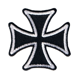 "Maltese Cross Biker Patch White On Black 3"" Symbol Embroidered Iron On Applique"