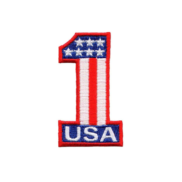 USA Number 1 One Patch Racing Flag Symbol American Embroidered Iron On Applique