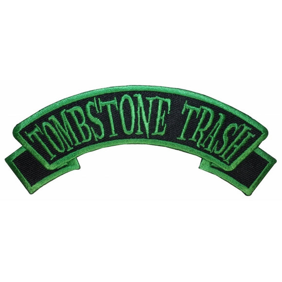 Tombstone Trash Tag Patch Grave Dead Kreepsville Embroidered Iron On Applique