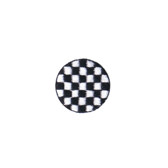 1 INCH Checkered Mod Patch Punk Design Shape Disc Embroidered Iron On Applique