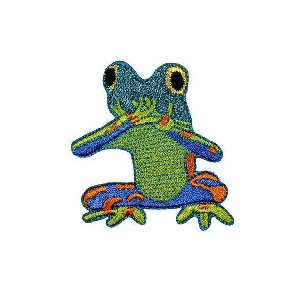 ID 0003 Colorful Frog Shiny Blue Speak No Evil Patch Embroidered IronOn Applique