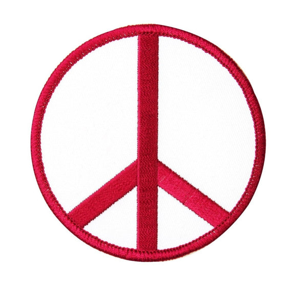 3 Inch Peace Sign Red on White Patch Hippie Apparel Decoration Iron On Applique