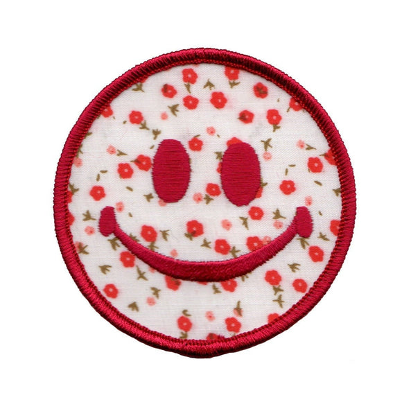 3 Inch Smiley Red Flowers Patch Happy Face Craft Accessory Iron On Applique