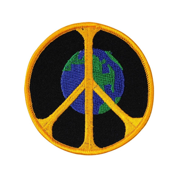 3 Inch World Peace Sign Patch Planet Earth Hippie Embroidered Iron On Applique