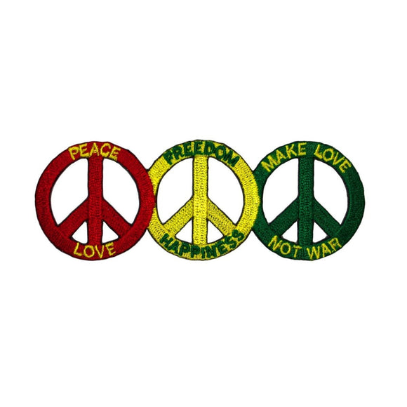 3 Peace Sign Love Freedom Happiness Patch Make Love Not War Iron On Applique