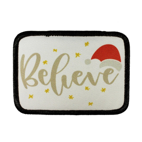 Believe Christmas Patch Magic Santa Hat Stars Dye Sublimation Iron On Applique