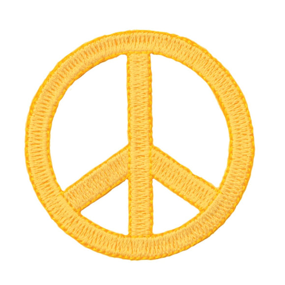 2 1/4 Inch Yellow Peace Sign Patch Die Cut Embroidered Iron On Applique